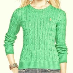 Ralph Lauren Cable Knit Spring Green Sweater